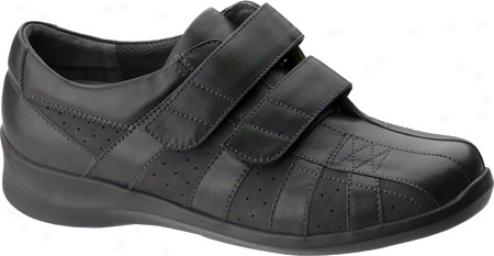 Aetrex Essence Striped 2 Strap (women's) - Black Leather/suede