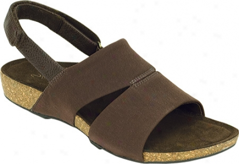 Aetrex Hannah Cork Double Band Stretch (women's) - Dark Brown Stretch Fabric/leather