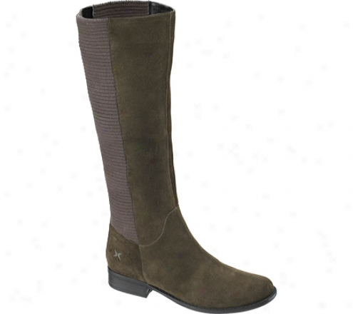 Aetrex Heather Tall Riding Boot (women's) - Olive Suede