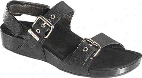 Aetrex Mandehle Quarter Strap (women's) - Black Leather