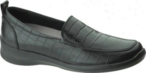 Aetrex Rosalynn Textured Leather Slip-on (women's) - Black Snakeskin Printed Leather