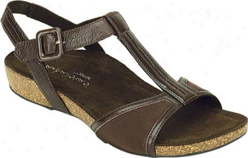 Aetrex Sabrina Cork T-strap (women's) - Dark Brown Stretch Fabric/patent