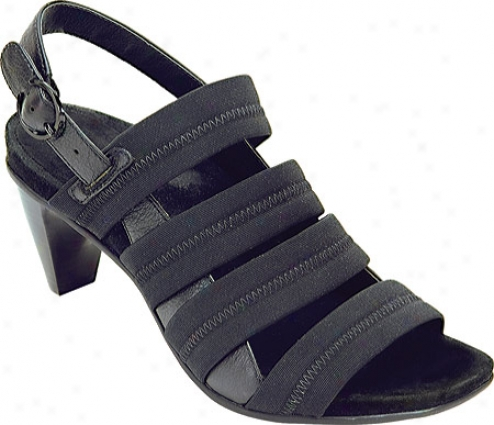 Aetrex Veronica Mult iBand (women's) - Black Stretch Fabric/leather