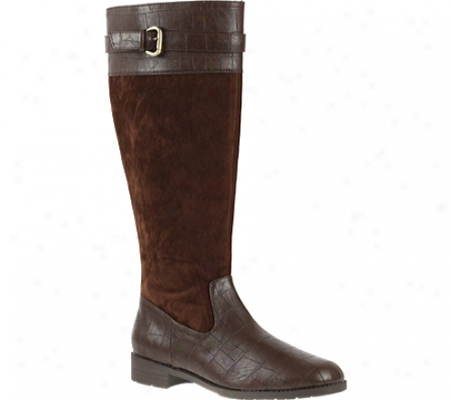 Annie Denver Wide Clf (women's) - Brown Croc/brown Velvet Suede