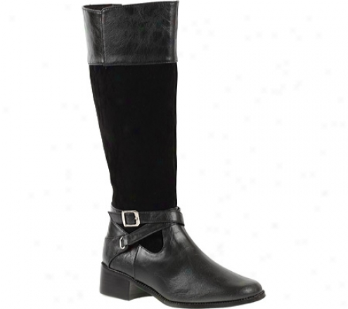 Annie Forray Wide Calf (women's) - Black Antiqu/eblack Velvet Suece