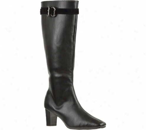 Annie Margie Wide Calf (women's) - Black/black Velvet Stretch
