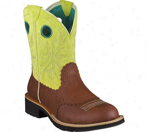 Ariat Fatbaby Cowgirl (women's) - Roughed Cognac/fresh Lime Full Grain Leather/suede
