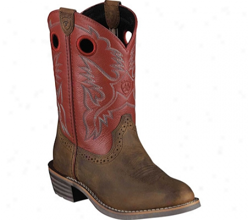 Ariat Heritage Roughstock (children's) - Distressed Brown/red Full Grain Leather