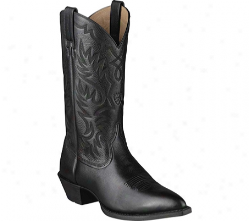 Ariat Heritage Western J Toe (men's) - Black Deertan Full Grain Leather
