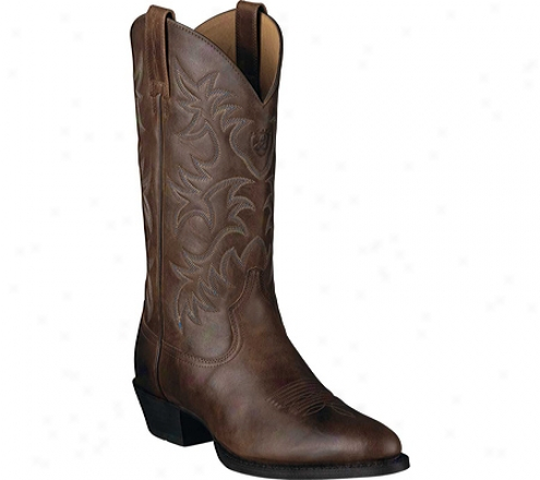 Ariat Heritage Western R Toe (men's) - Rich Brown Full Grain Leather
