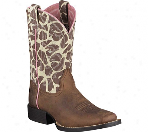 Ariat Quickdraw (children's) - Brown Pull Up/giraffe Pull Up Completely Grain Lather