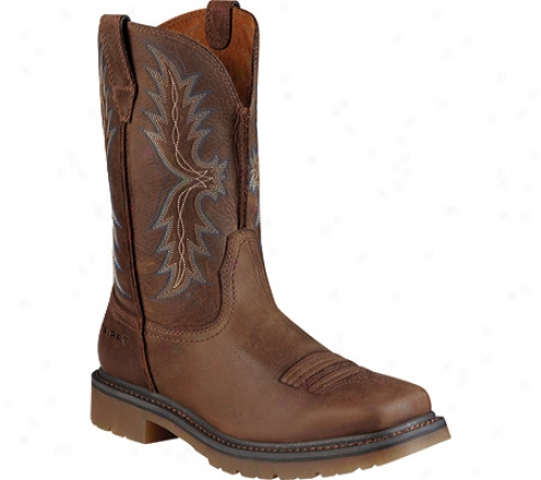 Ariat Rambler Work Westerly Steel Toe Pull-on (men's) - Dusted Brown Full Grain Leather