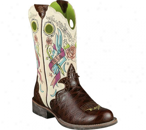 Ariat Rodeobaby Rocker (women's) - Chestnut Anteater Peint/cream Tattoo Leather/suede