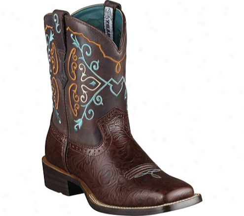 Ariat Rodeobaby Square Toe (women'w) - Cognac Emboss/chocolate Full Grain Leather Suede
