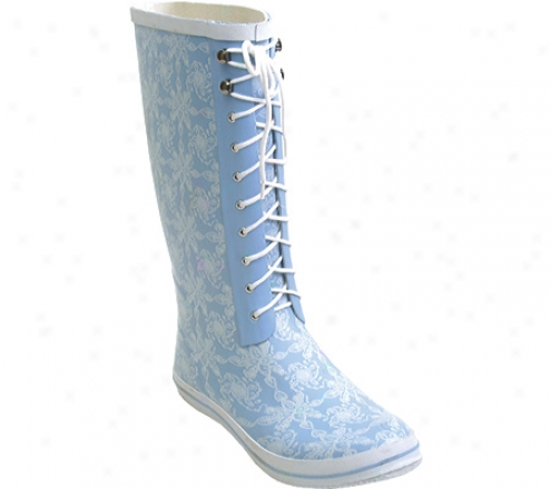 Barefoot Tess Lace-up Rain Boot (women's) - Light Blue/white Floral