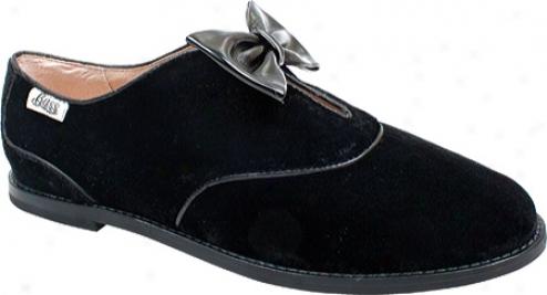 Bass Estelle (women's) - Black Velvet Fabric/black Patent Leather Bow