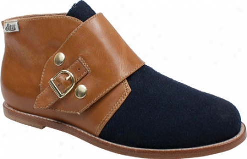 Bass Flavie (women's) - Navy Felt Fabric/whiskey Waxy Milled Leather
