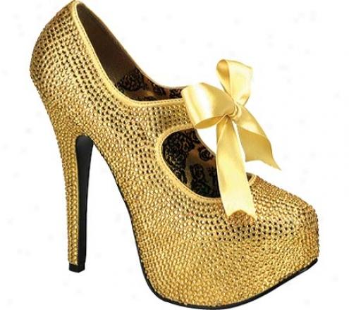 Bordello Teeze 04r (women's) - Gold Rhinestones