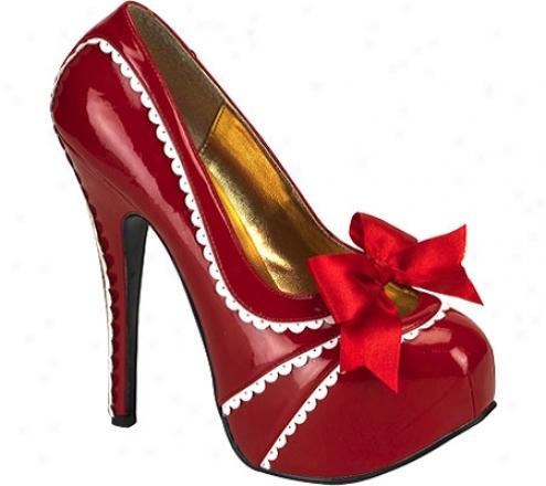 Bordello Teeze 14 (women's) - Red/white Patent