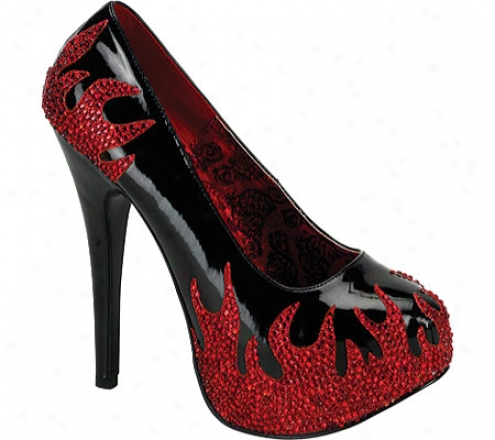 Bordello Teeze 27 (women's) - Black Patent/red Rhinestone Flames
