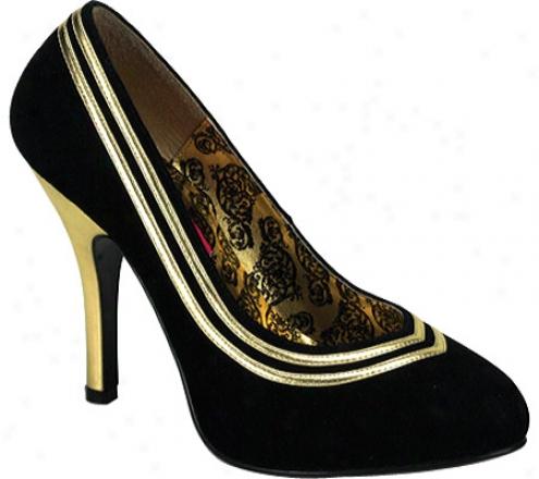 Bordello Try 40 (women's) - Black Suede/gold Pu