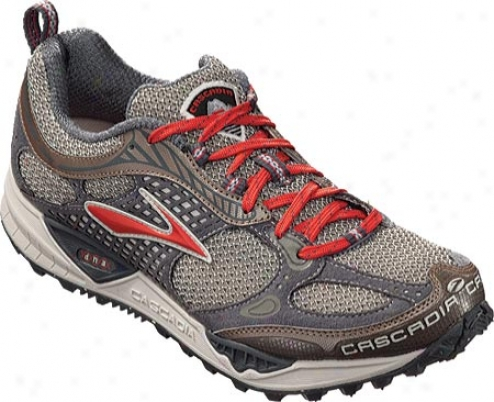 Brooks Cascadia 6 (women's) - Aurora Red/birch/fossil/silver/shadow