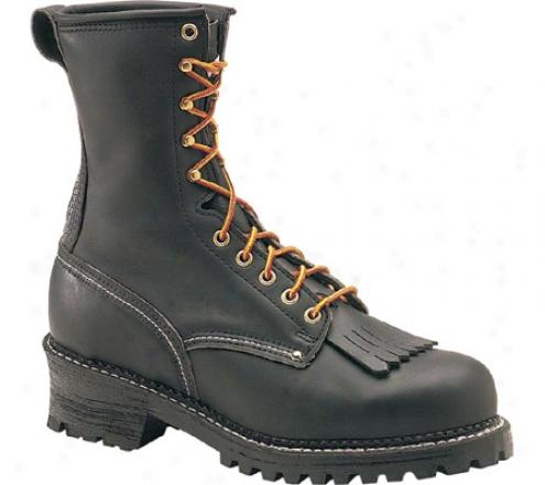 """""""carolina Domestic 9"""""""" Eh Plain Toe Logger 922 (men's) - Black Leather"""""""