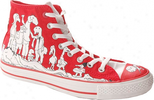 Converse (product) Red Chuck Taylor 100 Peepz Hi - Red/white