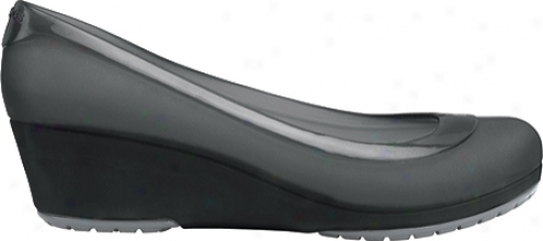Crocs Carlisa Mini Wedge (women's) - Black/silver