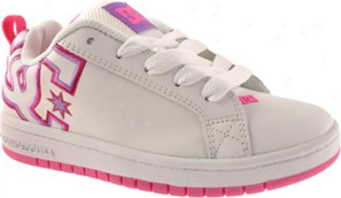 Dc Shoes Court Graffik (girls') - White/flr/pink