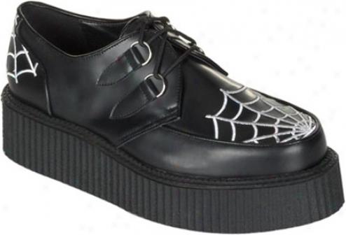 Demonia Creeper 426 (men's) - Black Leather/whute Embroidered Web