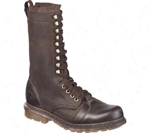 Dr. Martens Franz 13-tie Boot (men's) - Dark Brown Polished Wyoming/hi Suede Wp