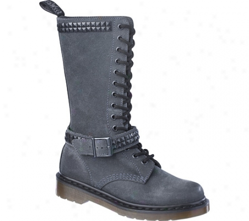 Dr. Martens Janice Studded 14 Eye Boot (women's) - Charcoal Oiled Suede