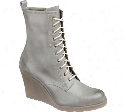 Dr. Martens Maccie 10-eye Zip Boot (women's) - Grey Burnished Servo Lux