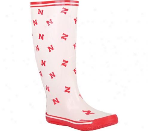 Fanshoes Nebraska Scattered N Rubber Boot (women's) - White