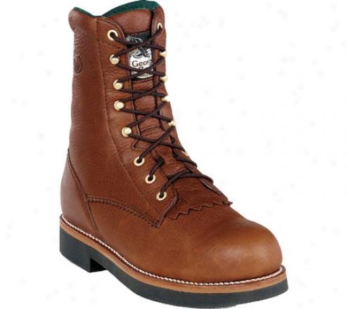 """georgia Boot G70 8"""" Work Lacer (men's) - Walnut Barracuda Spr Leather"""