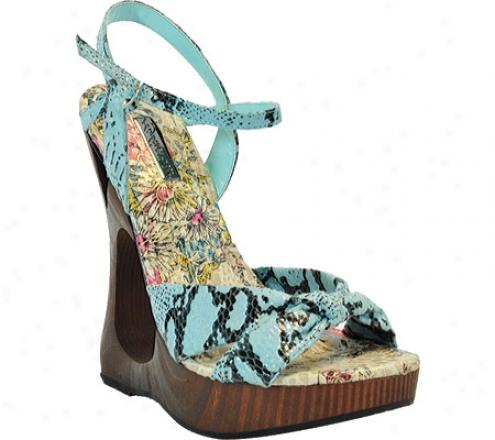 Highest Heel Famous-11 (women's) - Turqouise Snake Pu