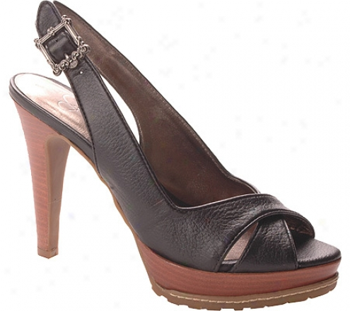 Jessica Simpson Lotus (women's) - Black Milled Leather/dark Natural Stacked