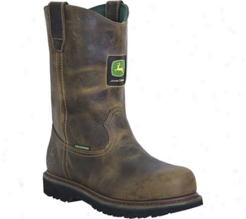 """""""john Deere Boots 10"""""""" Waterproof Safety Toe Welpington 4382 (m3n's) - Aged Oak Waterproof Leather"""""""