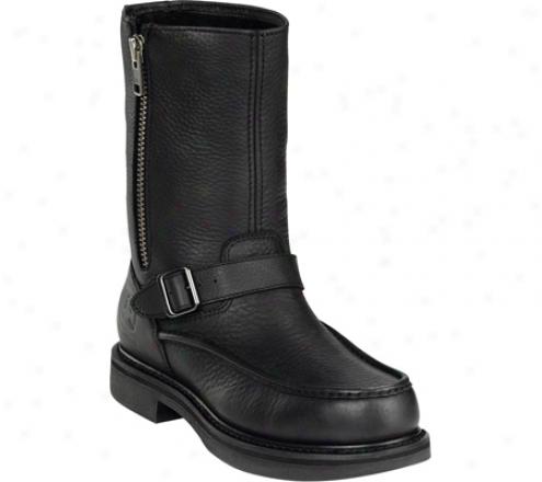"""john Deere Boots 11"""" Moc Toe Unlined Shaft Side Zip 4150 (men's) - Black Tumbled/oiled Leather"""
