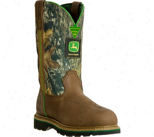"""john Deere Boots 11"""" Safety Toe Work Wellington 4348 (men's) - Tan/camo"""