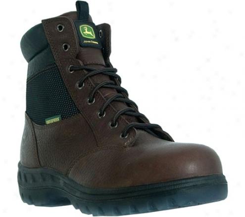 """john Deere Boots 7"""" Waterproof Hiker Harden Toe Zipper Lace Up 7601 (men's) - Red/brown Waterproof Leather"""