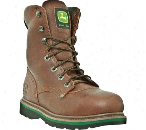 """john Deere Boots 8"""" Steel Toe Lace-up 8393 (men's) - Brown Tumbled Oiled Leather"""