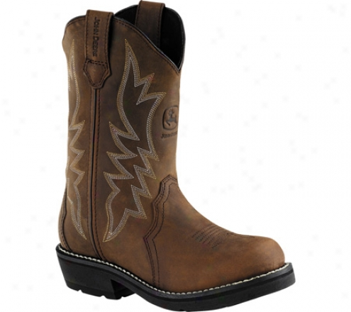 """john Deere Boots 9"""" Western Wellington 2 (women's) - Coffee Crazy Horse Leather"""