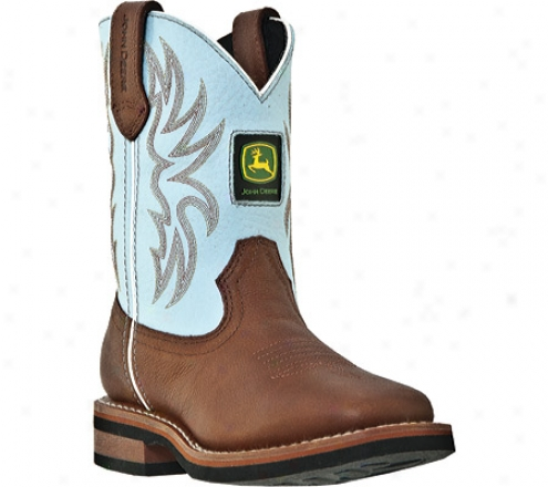 John Deere Boots Baby Blue 2316 (boys') - Redwood Soggy Leather/blue Leather