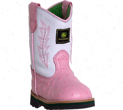 John Deeere Boots Leather Wellington 1171 (infant Girls') - Pink Ostrich Print/white