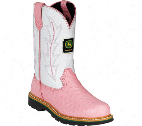 John Deere Boots Leather Wellinngton 2171 (infant Girls') - Pink Ostrich Print/white