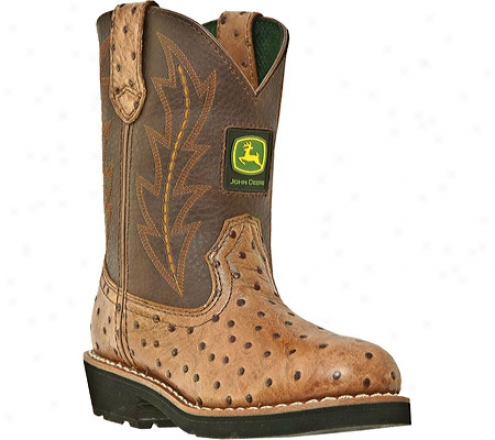 John Deere Boots Ostrich Print 2175 (boys') - Tan/br0wn Leather