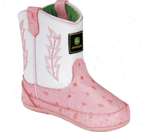 John Deere Boots Ostrich Stamp Wellington 0171 (infant Girls') - Pink/white Leather
