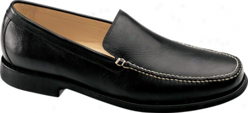 Johnston & Murphy Ainsworth Venetian (men's) - Black Tumbled Wax Veal